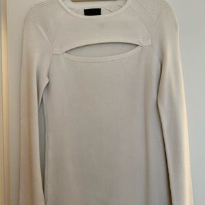 Intermix white ribbed cut out chest sweater